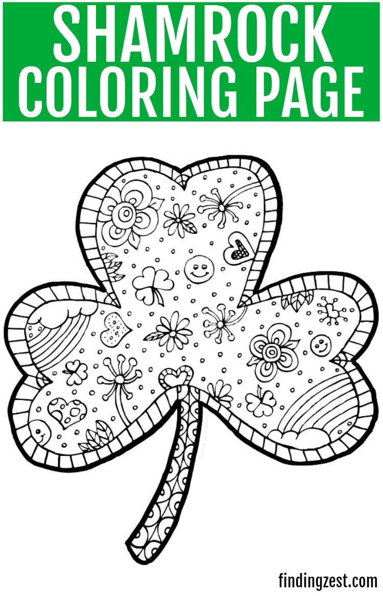 Shamrock Coloring Page Free Printable - Finding Zest - Free Printable Saint Patrick Coloring Pages