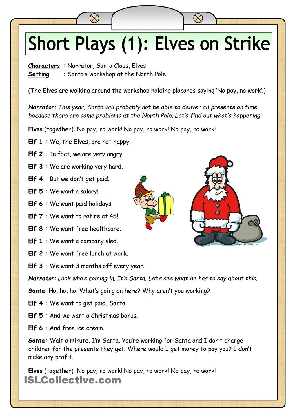 Short Plays (1): Elves On Strike | Teaching Kids | Esl | Christmas - Free Printable Christmas Plays For Sunday School