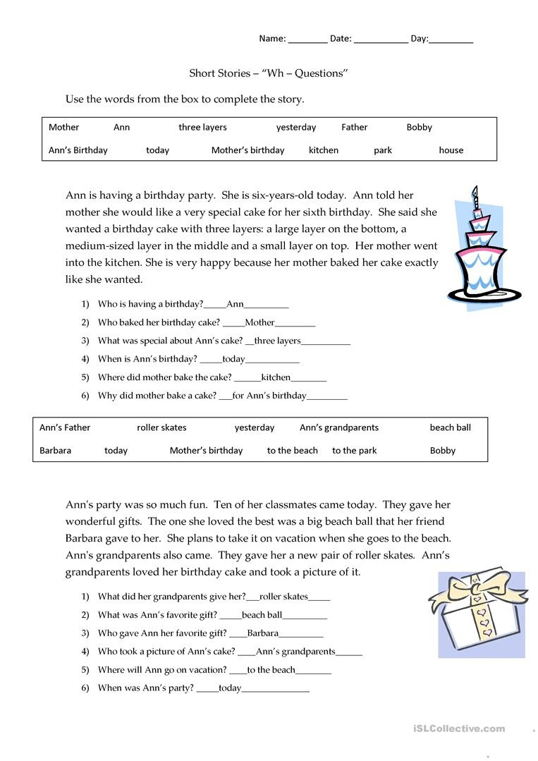 Short Stories Wh-Questions - Answers Worksheet - Free Esl Printable - Free Printable Short Stories For High School Students