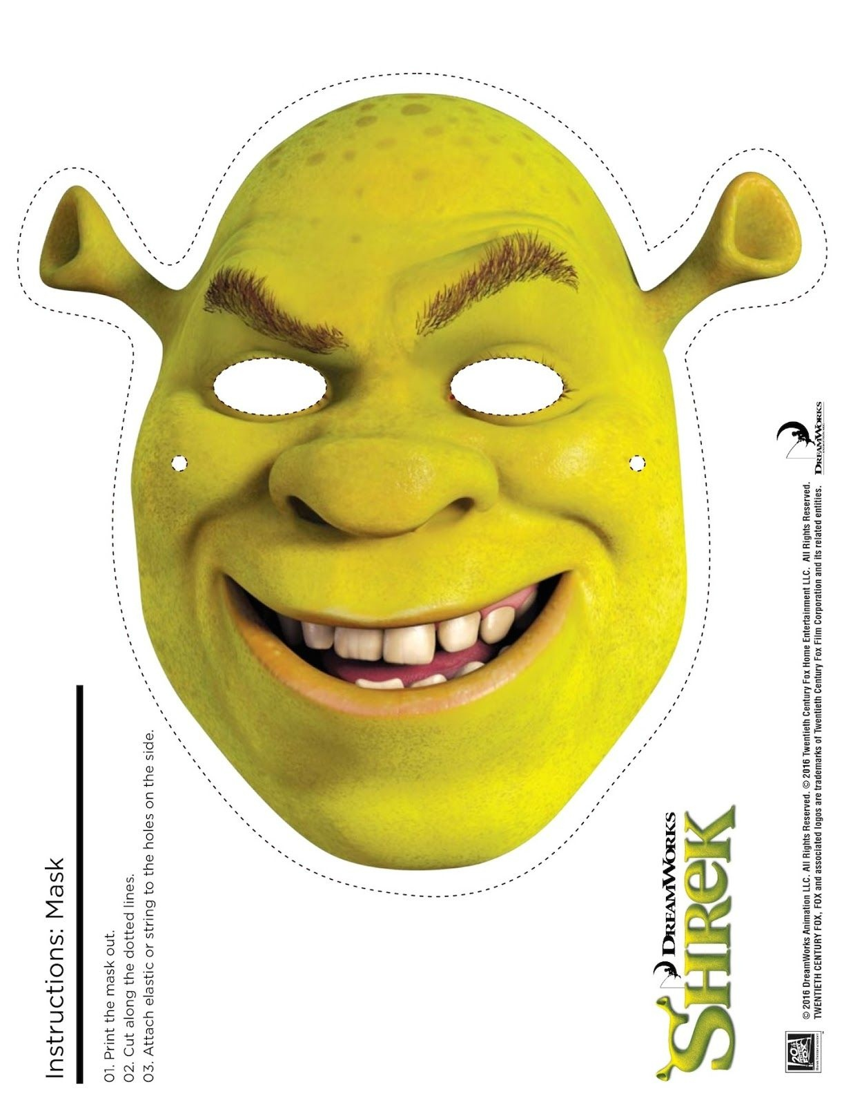 Shrek Photo Booth Props: Free Printable Shrek Mask | Shrek Birthday - Free Printable Shrek Invitations