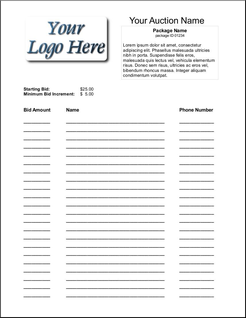 Silent Auction Bid Sheet Template 1641 | Silent Auction | Silent - Free Printable Silent Auction Templates