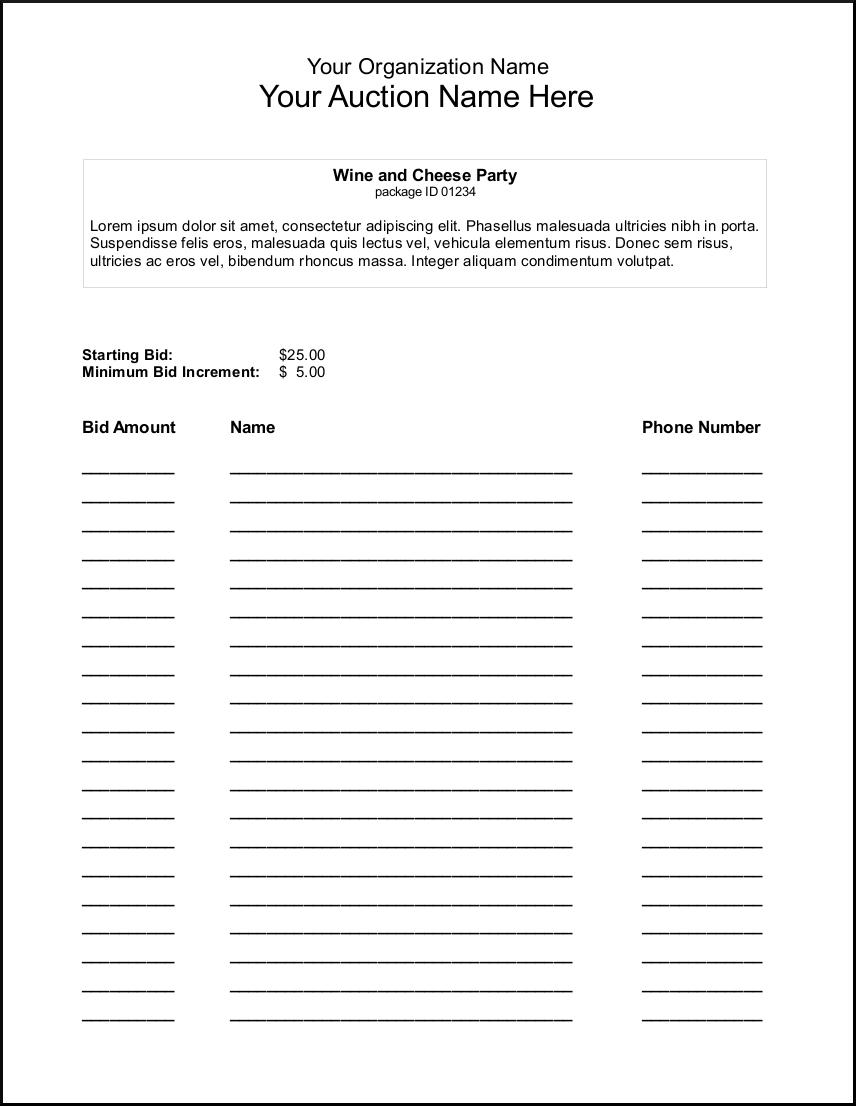 Silent Auction Bid Sheet Template - Google Search | Auction Ideas - Free Printable Silent Auction Templates