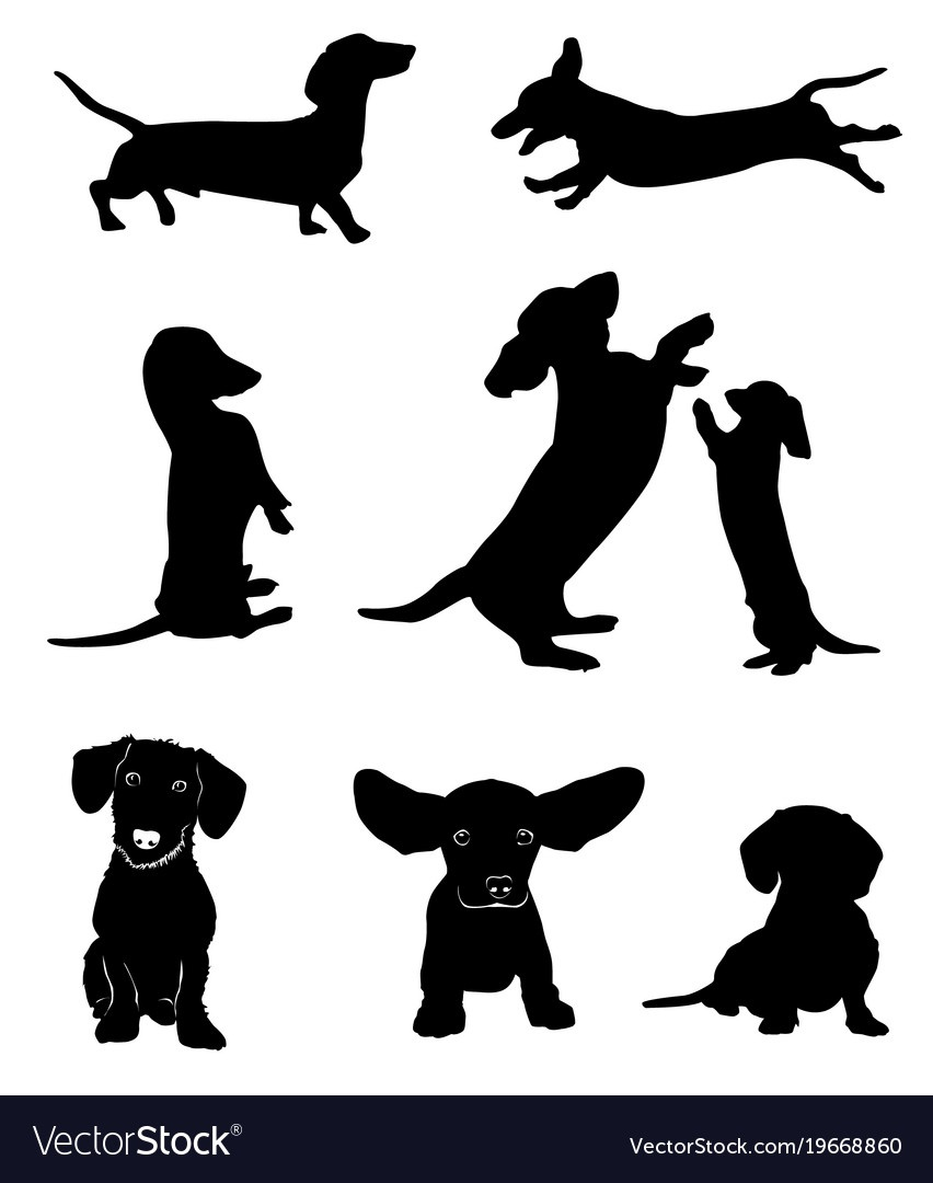 Silhouettes Of Dachshunds Royalty Free Vector Image - Free Printable Dog Silhouettes