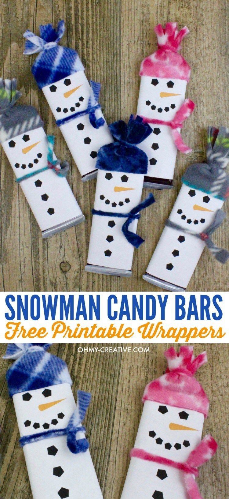 Snowman Free Printable Candy Bar Wrapper Template | Crafts - Free Printable Christmas Candy Bar Wrappers