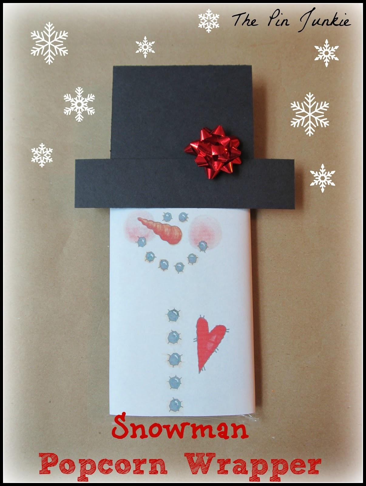 Snowman Printable Popcorn Wrapper - Snowman Candy Bar Wrapper Free Printable