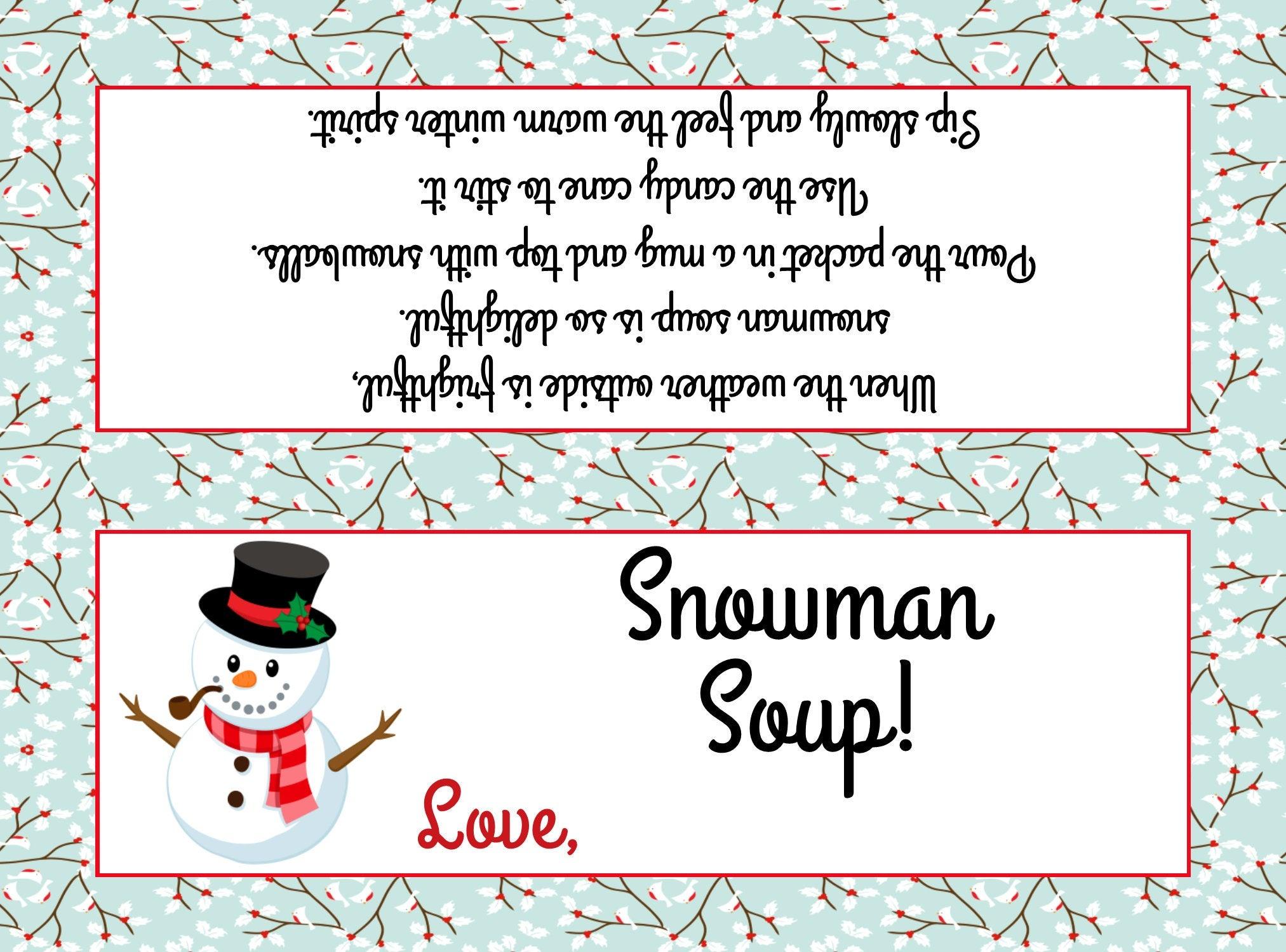 Snowman Soup Bag Topper Fits Plastic Sandwich Bags | Etsy - Snowman Soup Free Printable