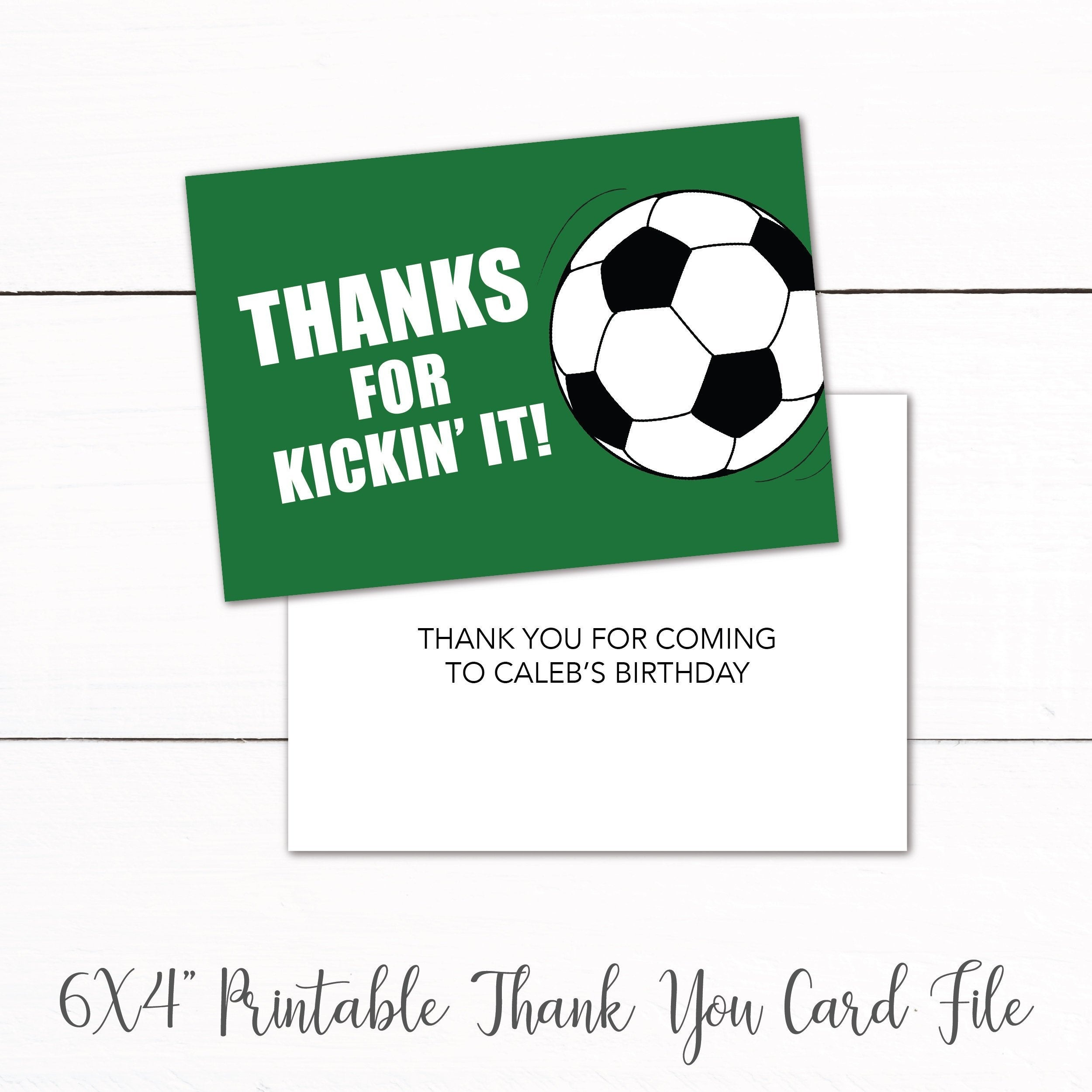 Soccer Birthday Party Printable Thank You Card Kids Soccer | Etsy - Free Printable Soccer Thank You Cards