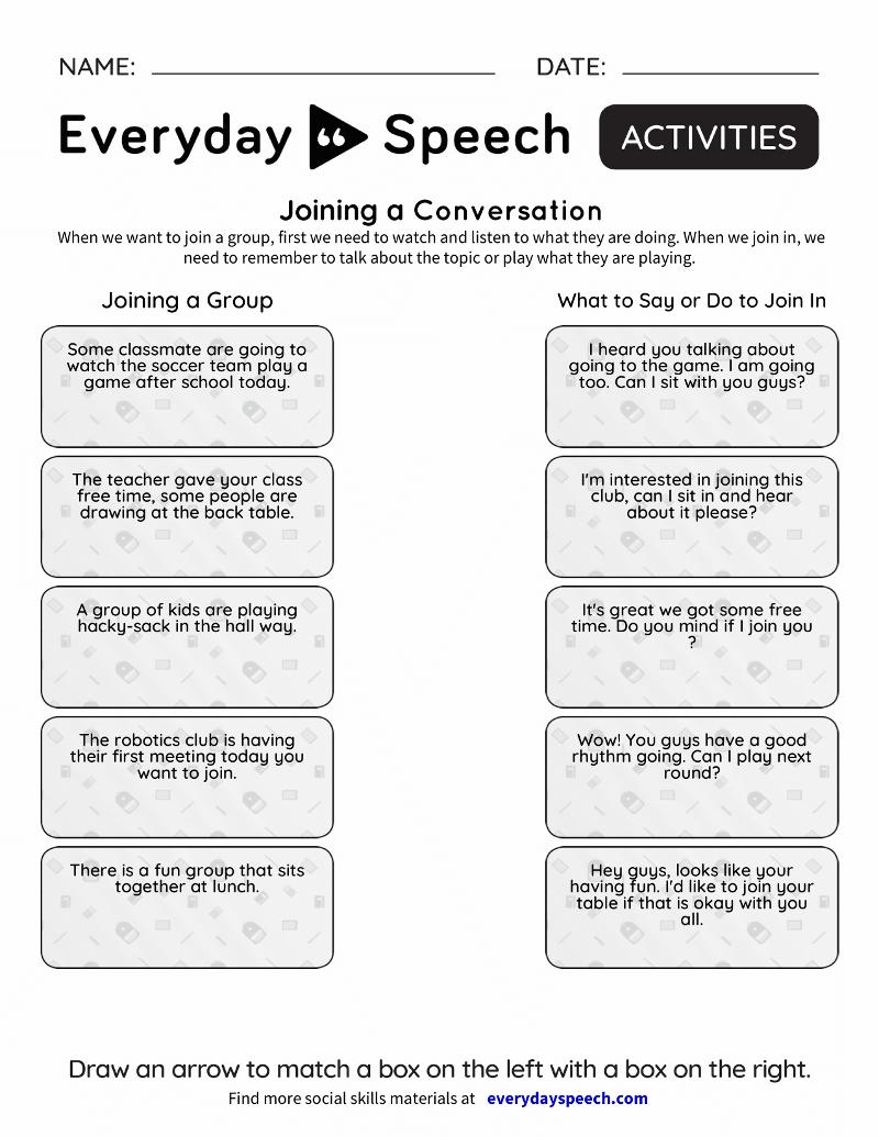 Social Skills Activities | Everyday Speech - Everyday Speech - Free Printable Social Skills Activities Worksheets
