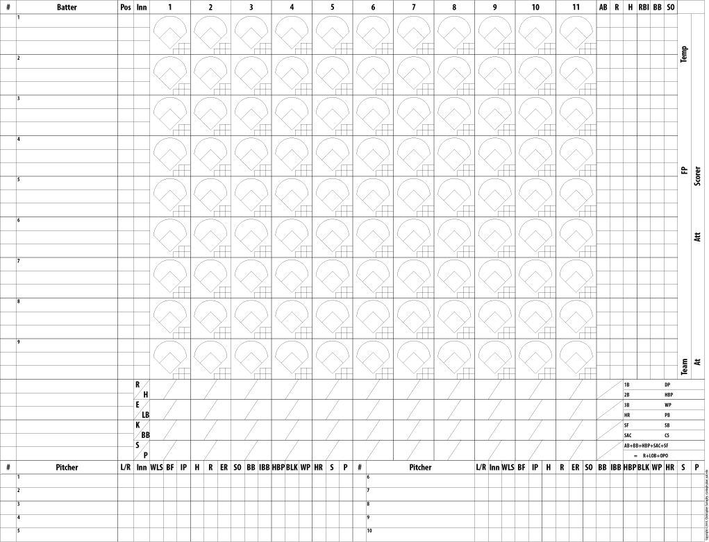 Softball Score Sheet Template. Softball Scorecards With Pitch Count - Softball Scorebook Printable Free