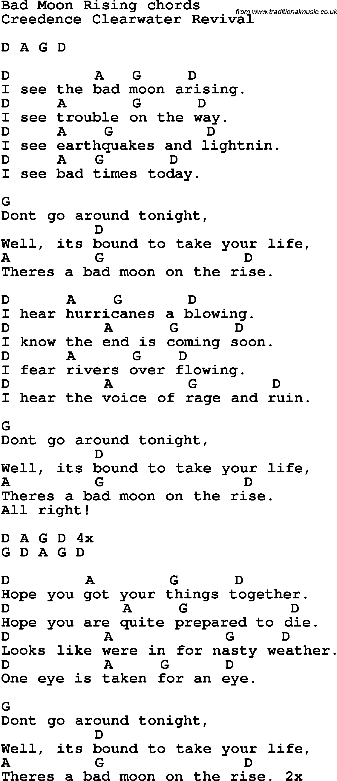 Song Lyrics With Guitar Chords For Bad Moon Rising | Sheet Music - Free Printable Song Lyrics With Guitar Chords