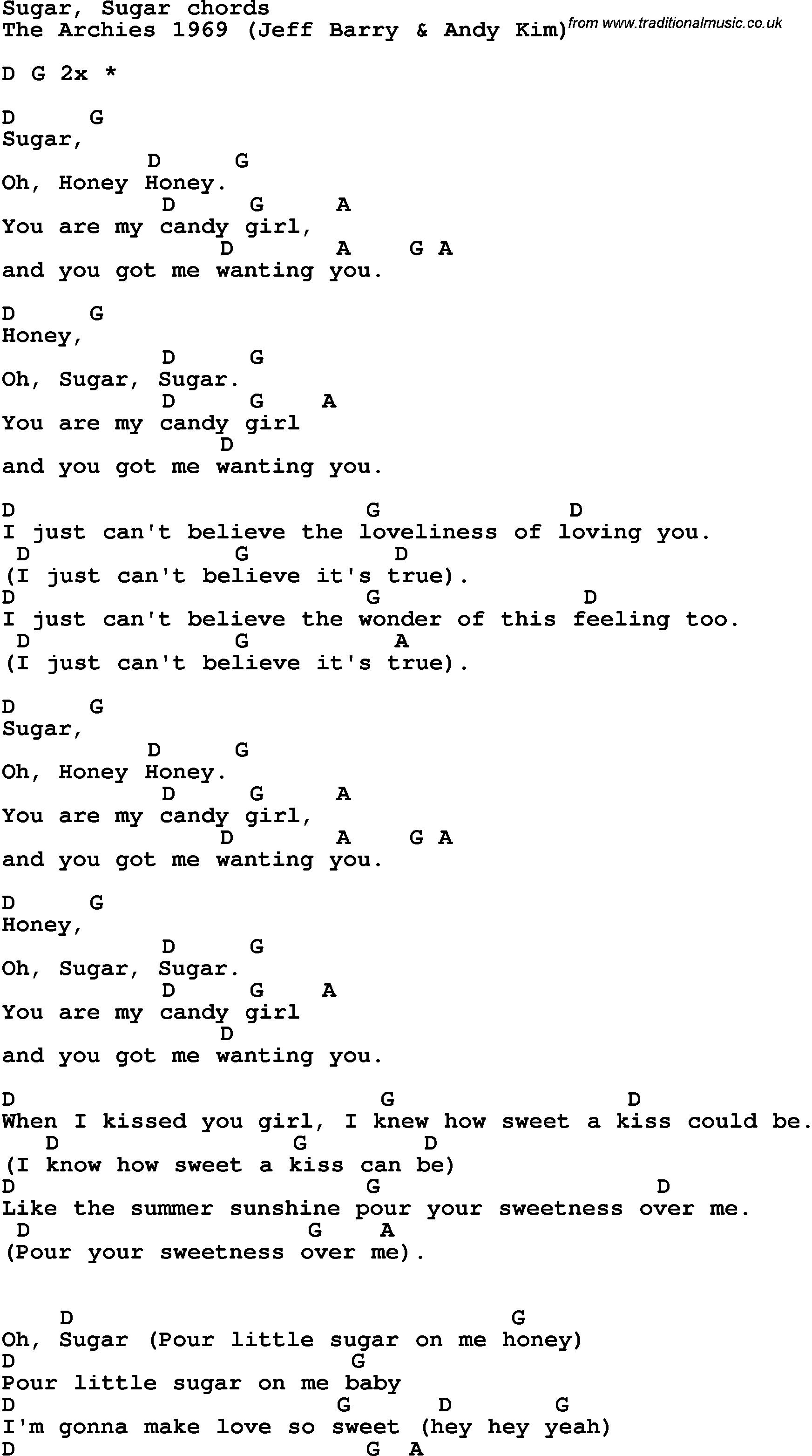 Song Lyrics With Guitar Chords For Sugar, Sugar | Guitar Art In 2019 - Free Printable Song Lyrics With Guitar Chords