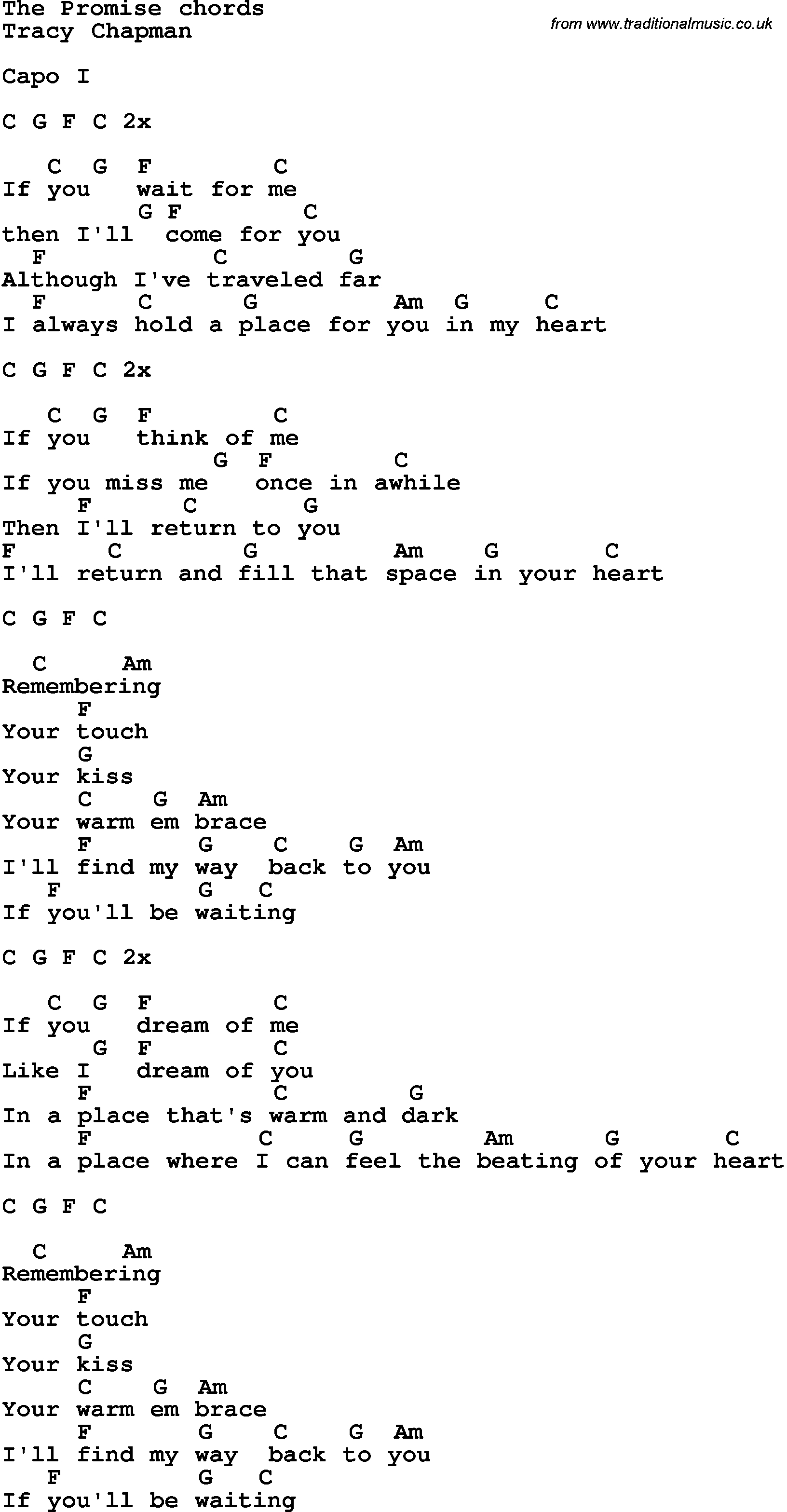 Song Lyrics With Guitar Chords For The Promise - Tracy Chapman - Free Printable Song Lyrics With Guitar Chords