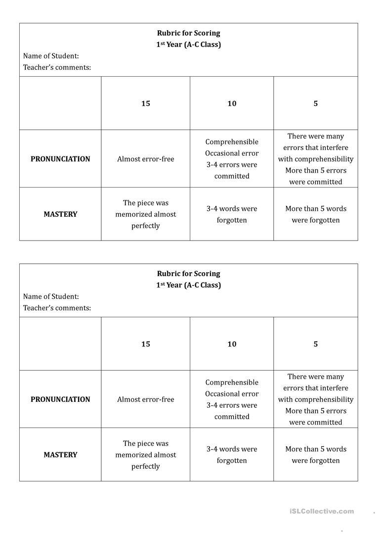 Speaking Task Rubric Worksheet - Free Esl Printable Worksheets Made - Free Printable Rubrics For Teachers