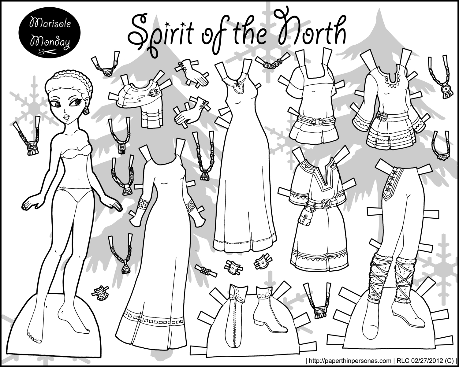 Spirit Of The North: Black And White Printable Paper Doll • Paper - Medieval Paper Dolls Free Printable