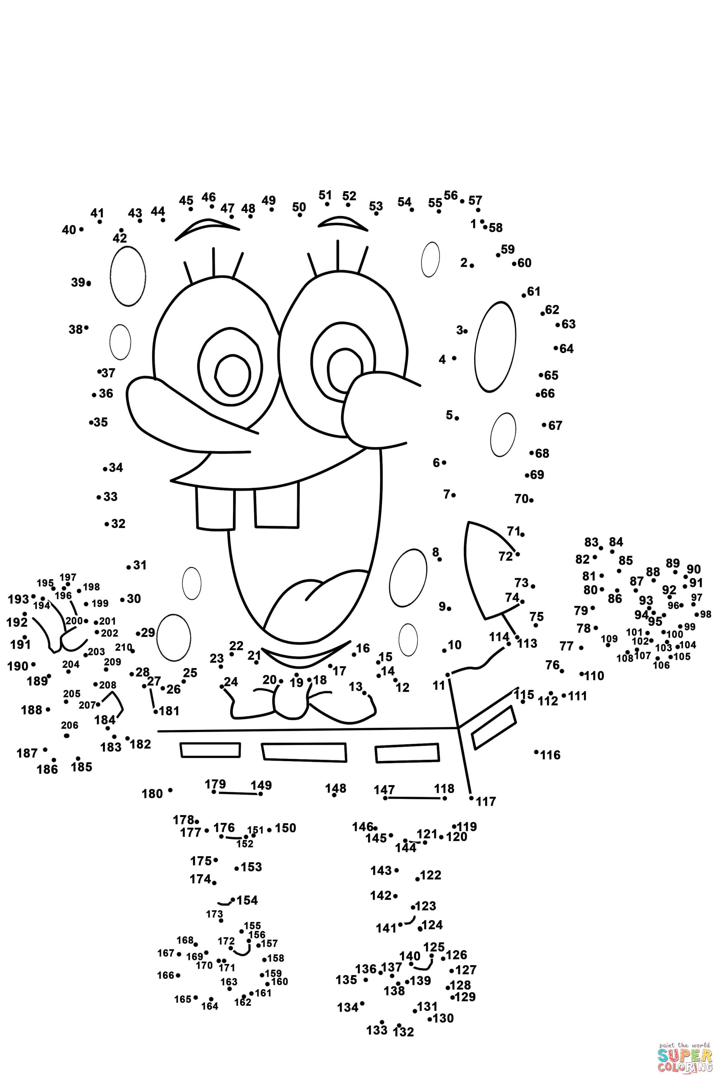 Spongebob Dot To Dot | Free Printable Coloring Pages - Free Dot To Dot Printables