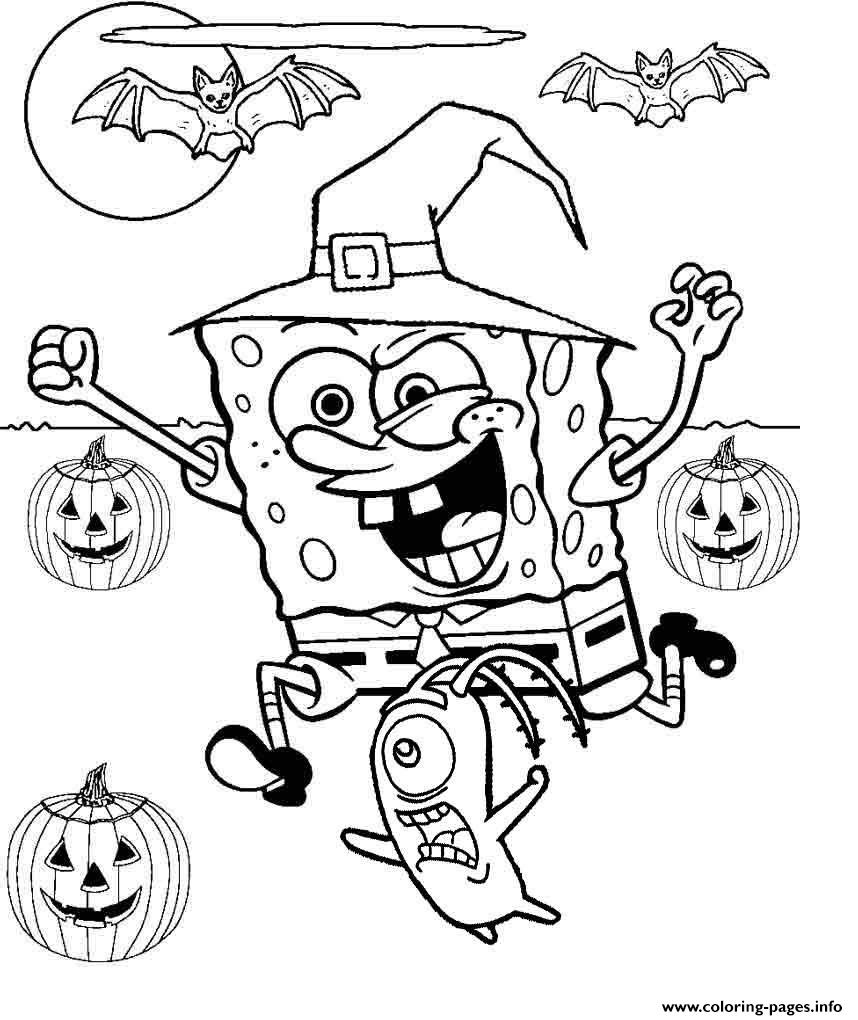 Spongebob Halloween Coloring Pages Printable - Free Online Printable Halloween Coloring Pages