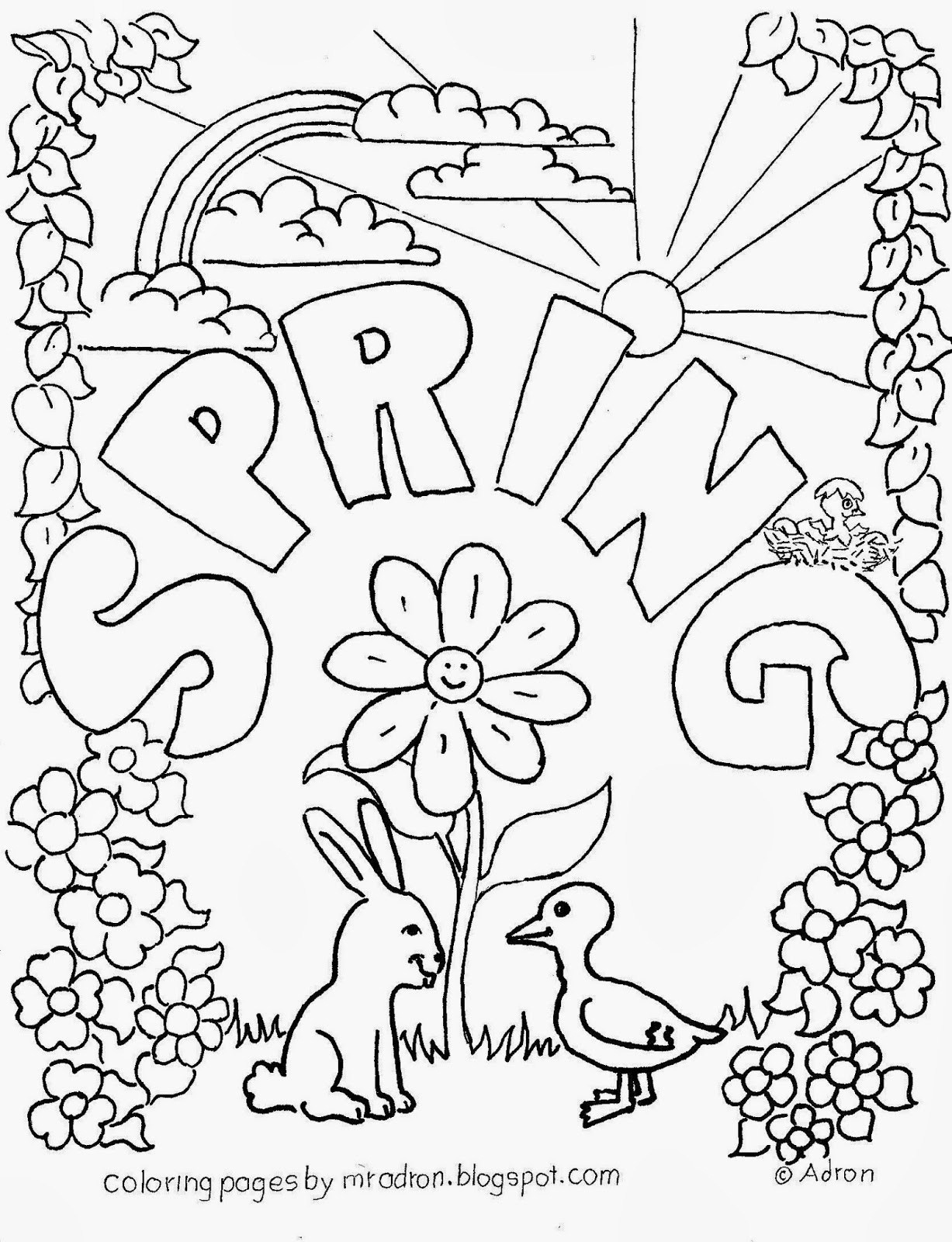 Spring Coloring Pages To Print Agreeable Springtime Coloring Pages - Free Printable Spring Coloring Pages