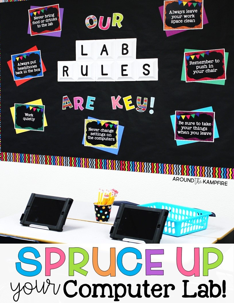Spruce Up Your Computer Lab With Chalkboard Decor - Around The Kampfire - Free Printable Computer Lab Posters