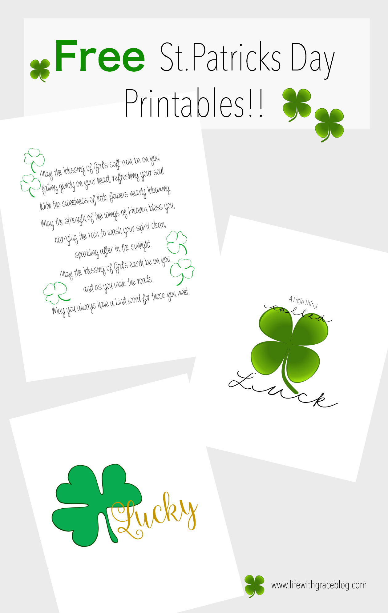 St. Patricks Day Free Printables - Life With Grace - Free St Patrick's Day Printables