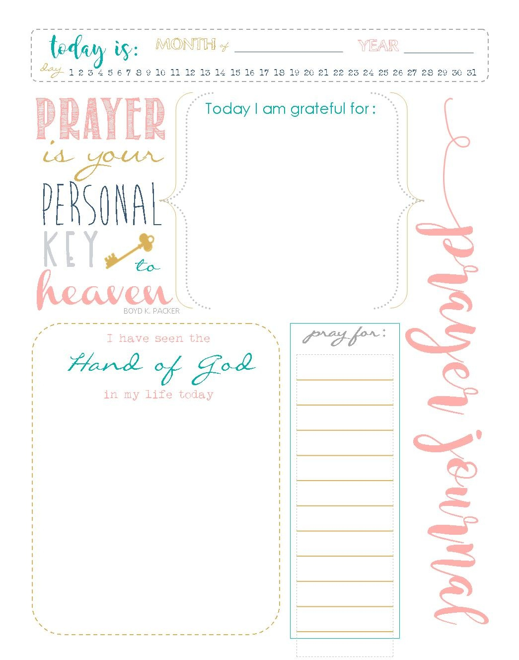 Start A Prayer Journal For More Meaningful Prayers: Free Printables!!! - Free Printable Prayer List