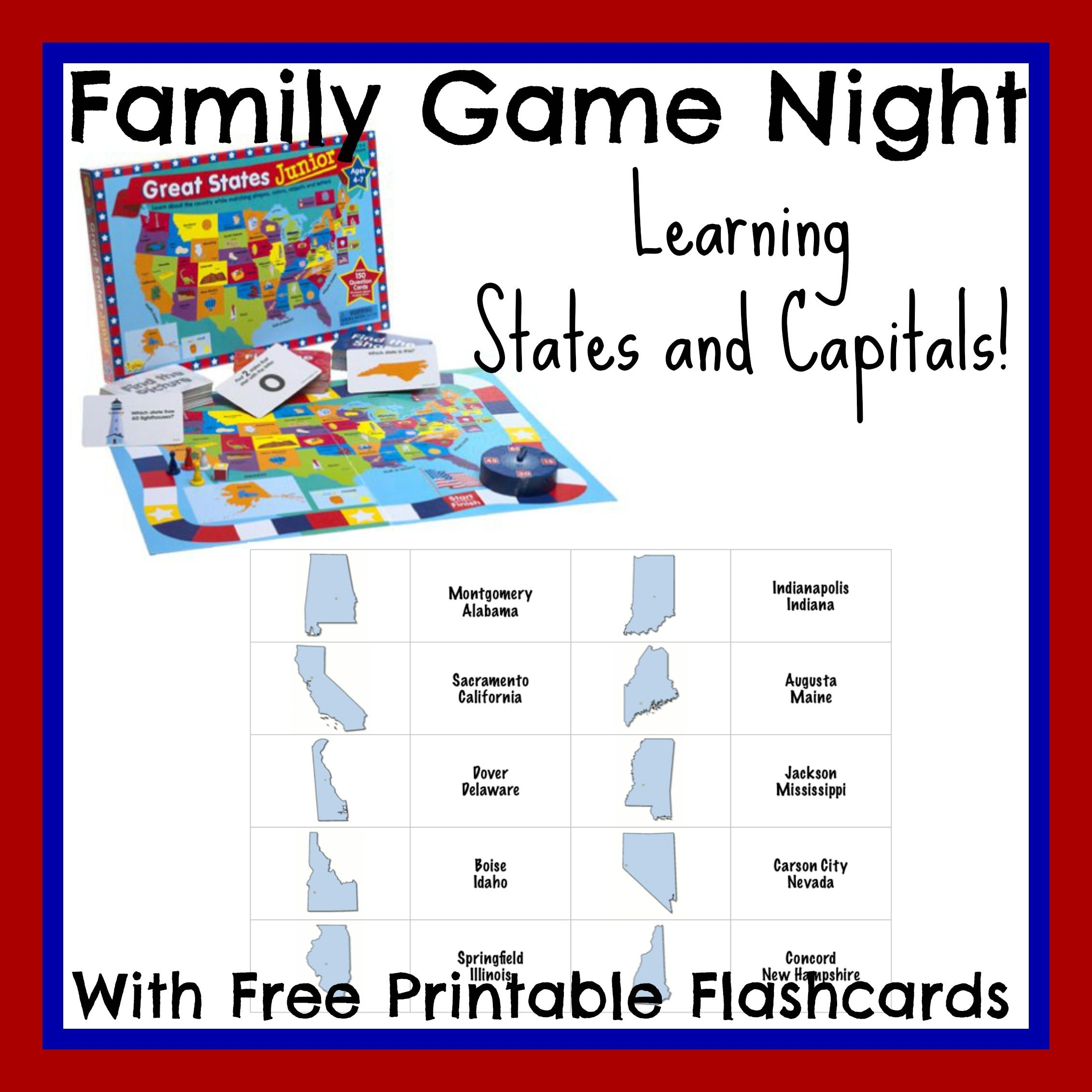 State Capital Flashcards Printable Free For Family Game Night - State Capital Flashcards Printable Free