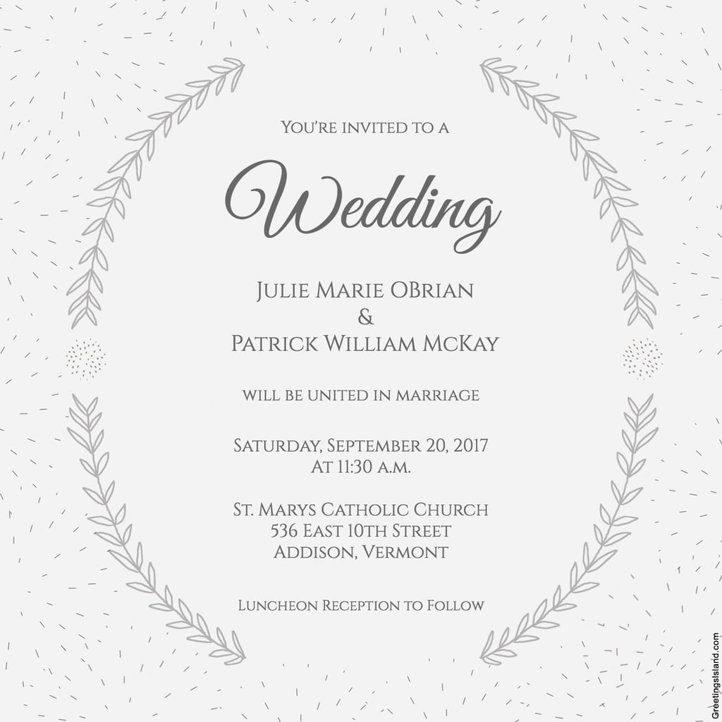 Stylized Laurels Wedding Invitation | Free Printable Wedding - Free Printable Wedding Invitations With Photo