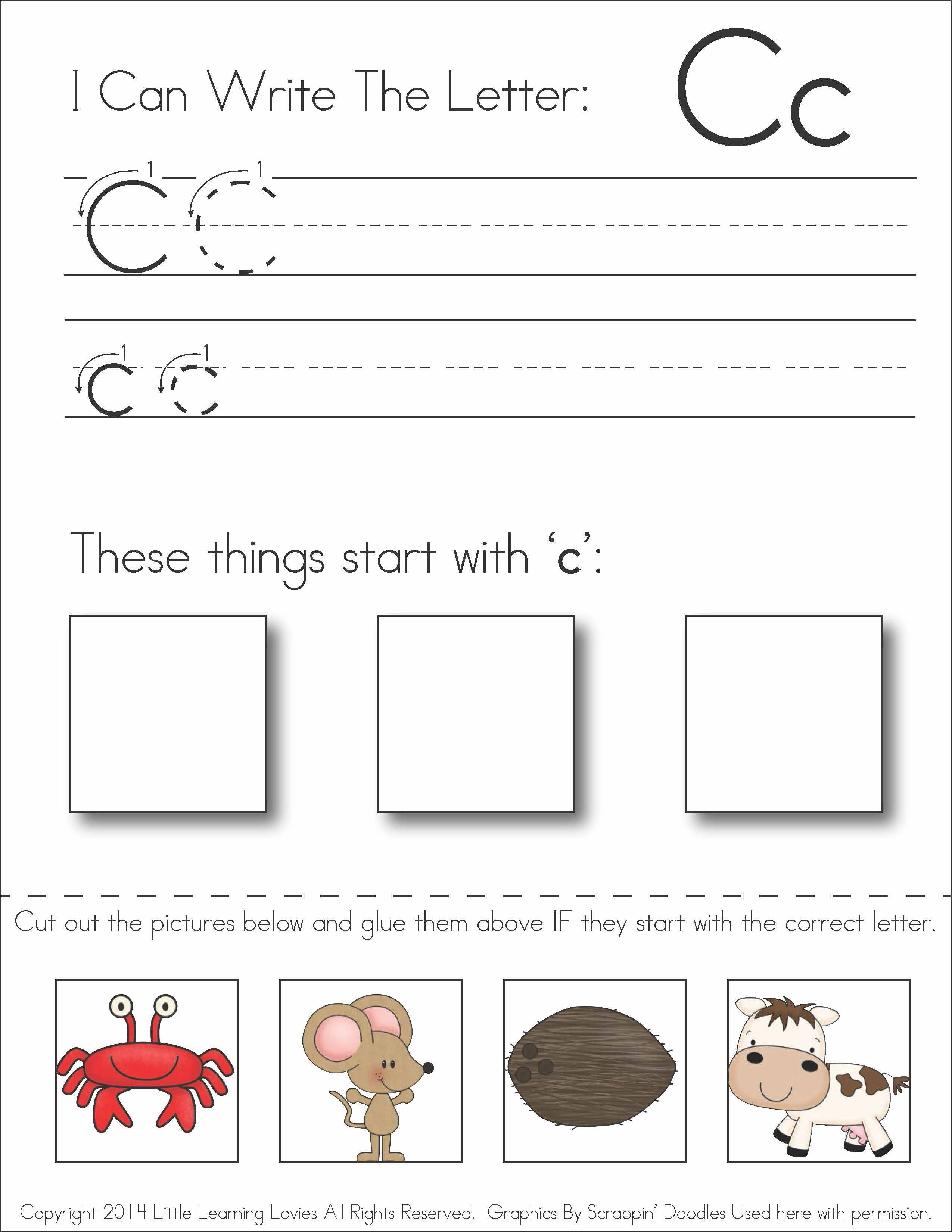 Subscriber Exclusive Freebie} - Letter C: Write, Cut & Paste - Free Printable Kindergarten Worksheets Cut And Paste