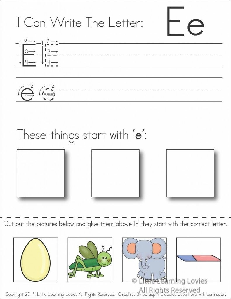 Subscriber Exclusive Freebie} - Letter E: Write, Cut & Paste Copy - Free Printable Kindergarten Worksheets Cut And Paste