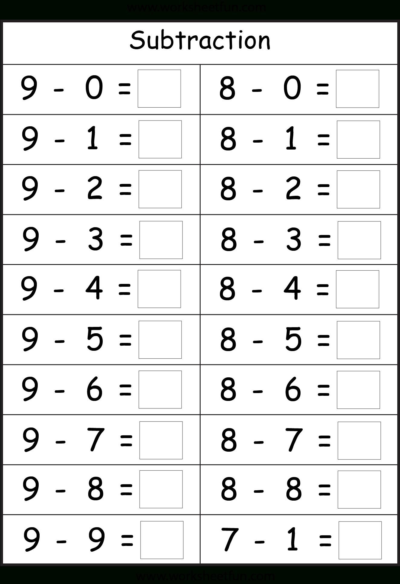 Subtraction - 4 Worksheets | Printable Worksheets | Worksheets - Free Printable Subtraction Worksheets