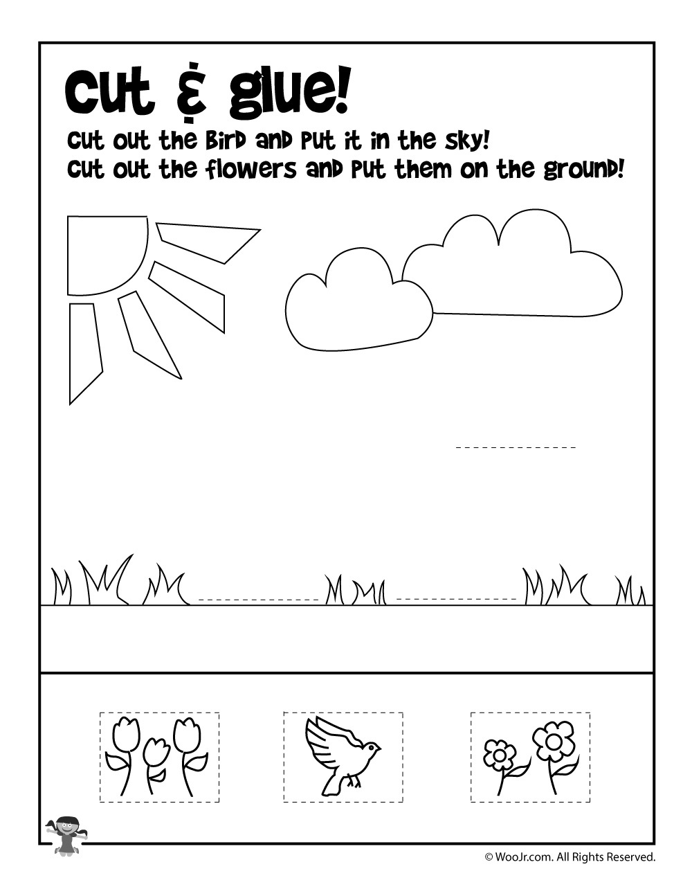 Summer Cut And Paste Worksheet | Woo! Jr. Kids Activities - Free Printable Cut And Paste Worksheets For Preschoolers
