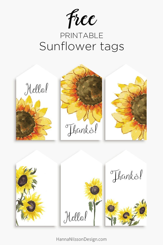 Sunflower Tags | Printables | Free Printable Gift Tags, Free - Free Printable Sunflower Template