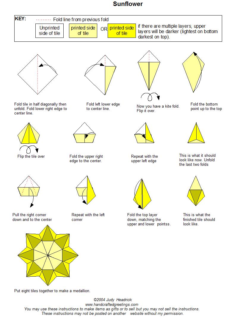 Sunflower Tea Bag Fold Instructions | Tea Bag Folding | Origami - Free Printable Tea Bag Folding Patterns
