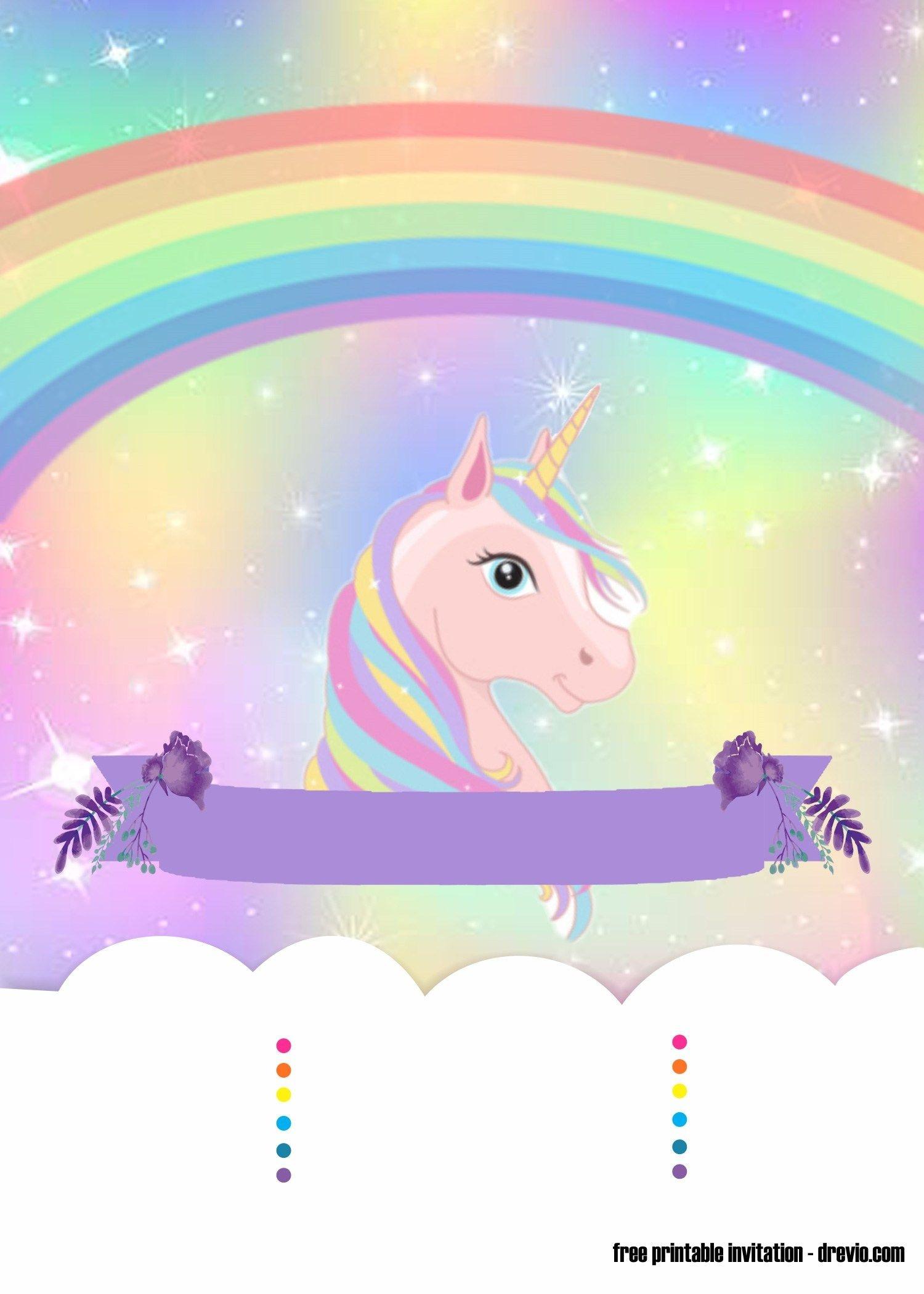 Sweet Party With Rainbow Unicorn Invitation Template - Free - Free Printable Rainbow Unicorn Invitations