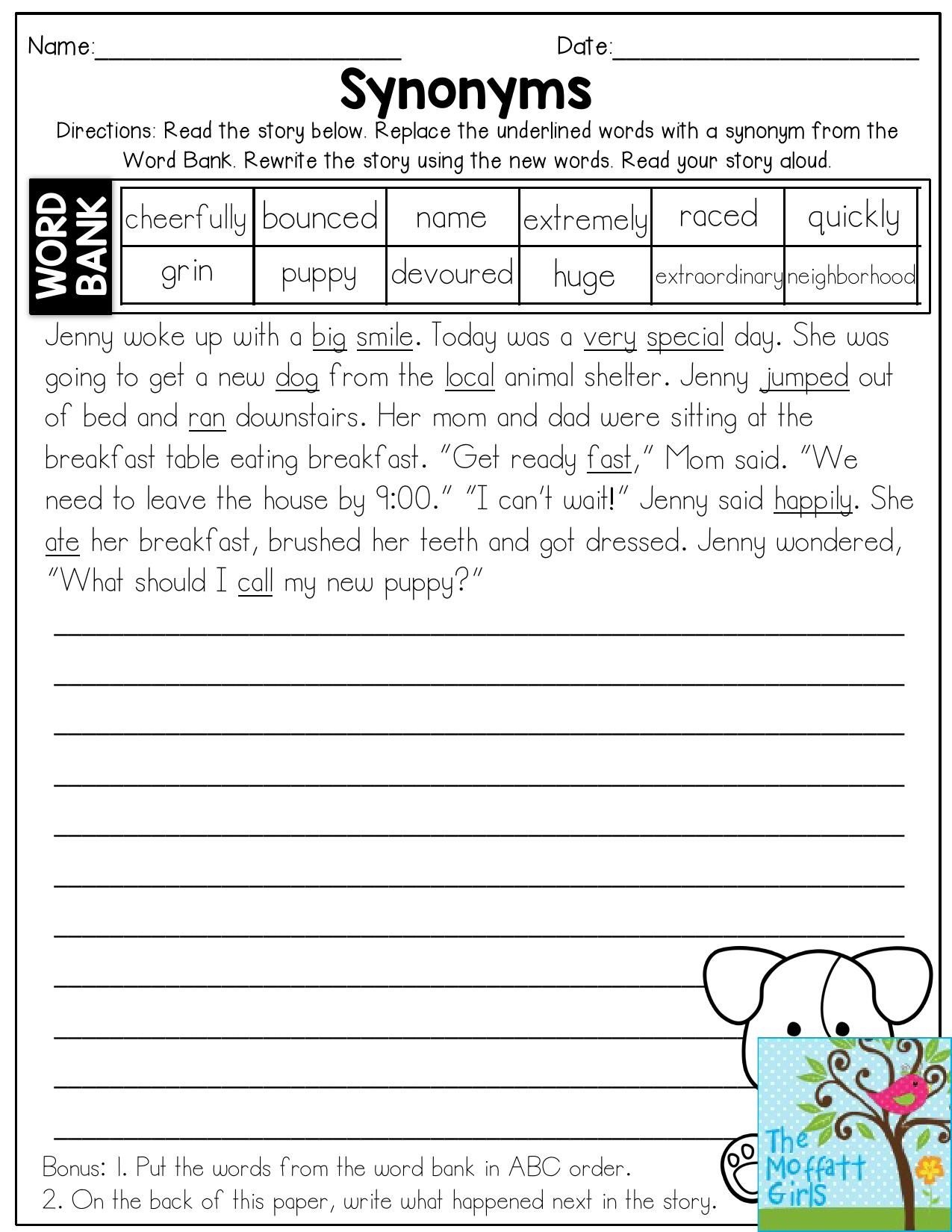 Synonyms- Read The Story And Replace The Underlined Words With - Free Printable High Interest Low Reading Level Stories