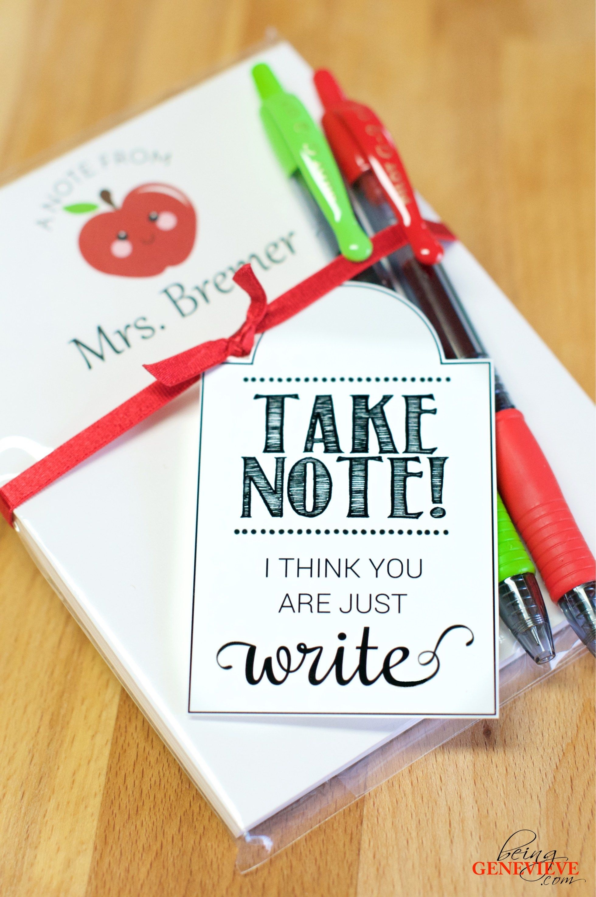Take Note | Beinggenevieve | Teacher Appreciation Gifts, Teacher - Take Note I Think You Are Awesome Free Printable