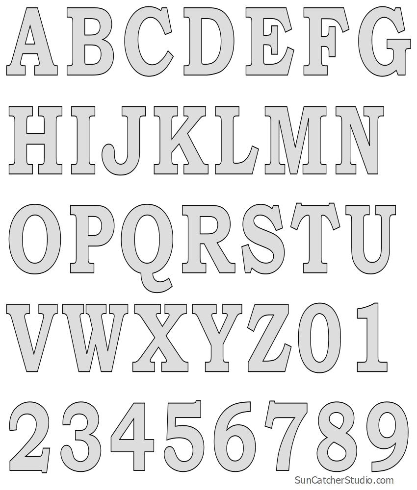 Tall Block Serif Printable Letter Stencils (Number And Alphabet - Free Printable Alphabet Stencil Patterns