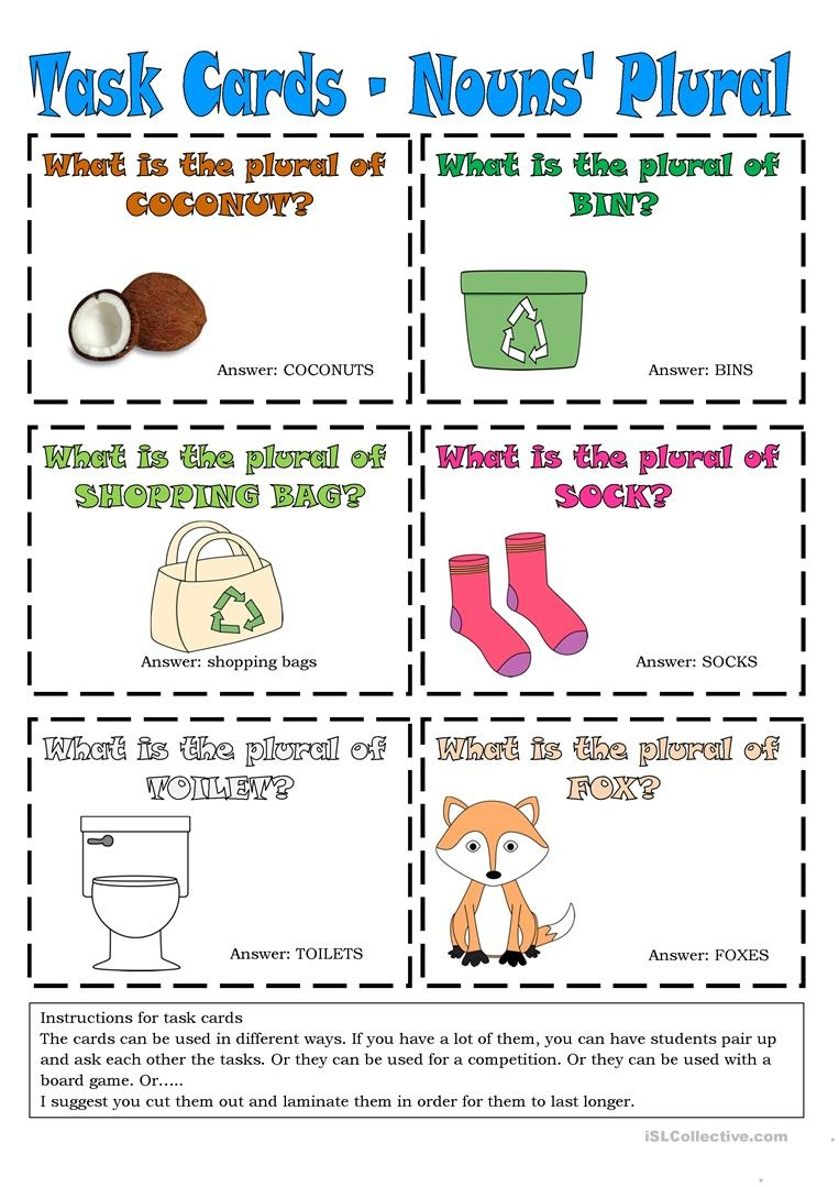 Task Cards - Nouns' Plural 6 Worksheet - Free Esl Printable - Free Printable Noun Picture Cards
