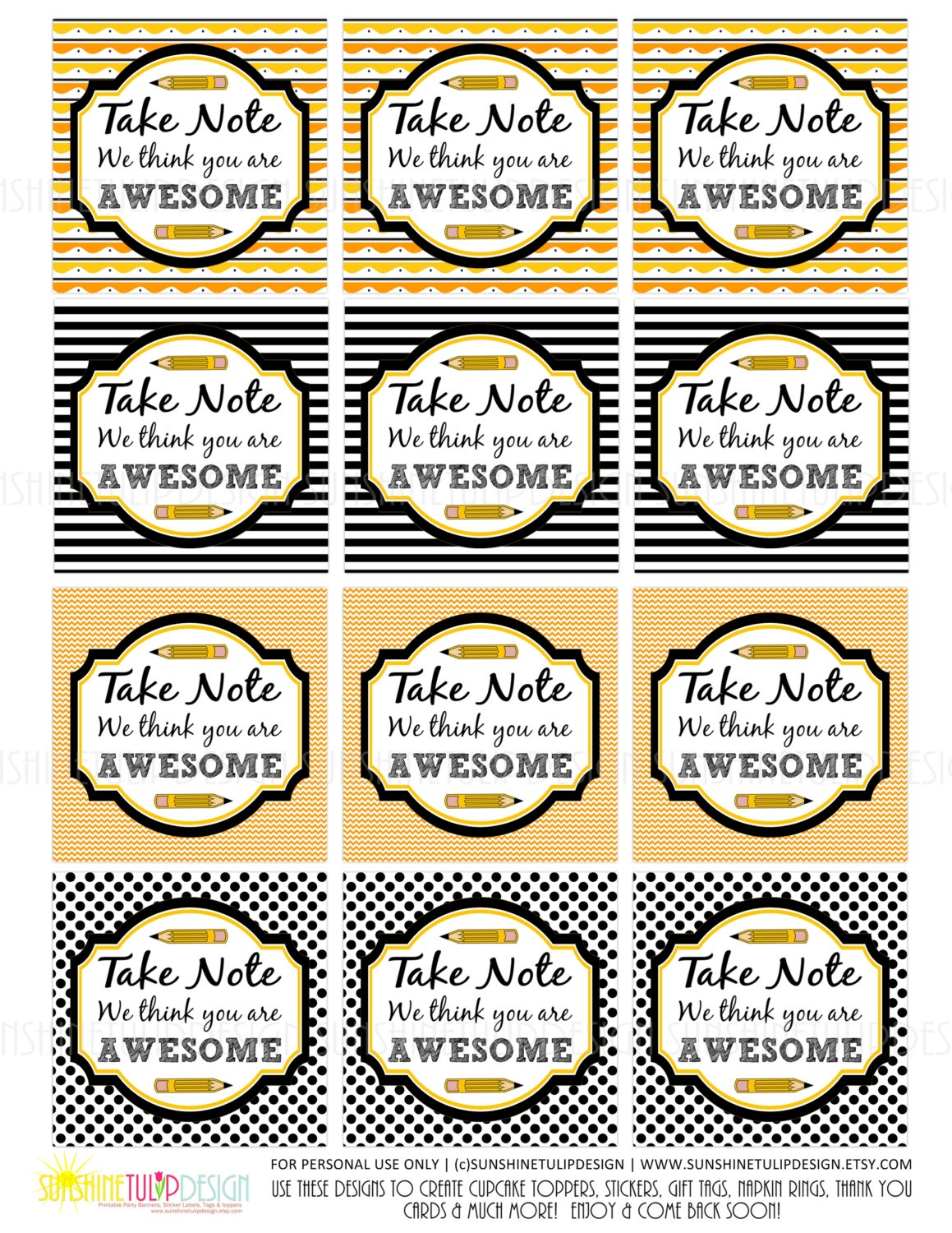 Teacher Appreciation Tags Printable Take Note You Are Awesome | Etsy - Take Note I Think You Are Awesome Free Printable