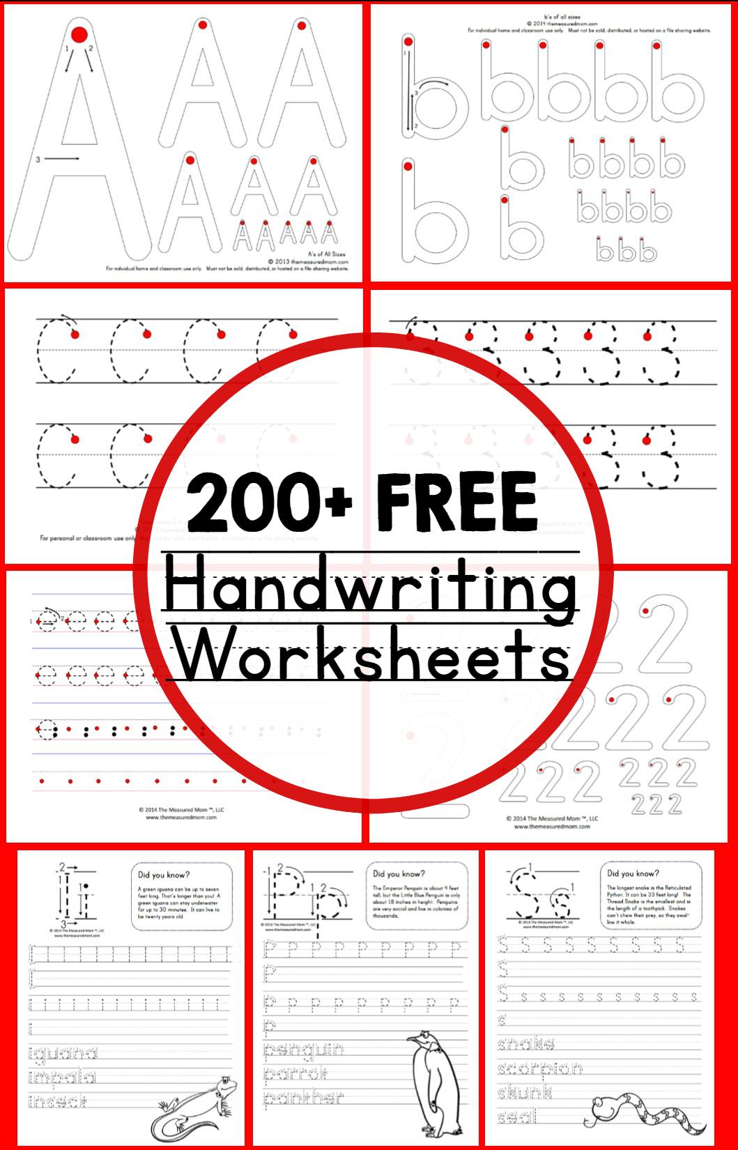 Teaching Handwriting - The Measured Mom - Free Handwriting Printables
