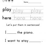 Teaching Sight Words Worksheet   Free Kindergarten English Worksheet   Free Printable Kindergarten Sight Words