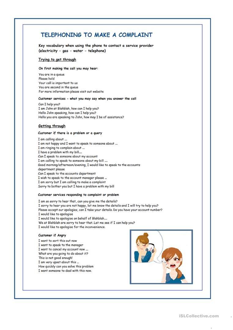 Telephone Complaint Worksheet - Free Esl Printable Worksheets Made - Free Printable Customer Service Worksheets