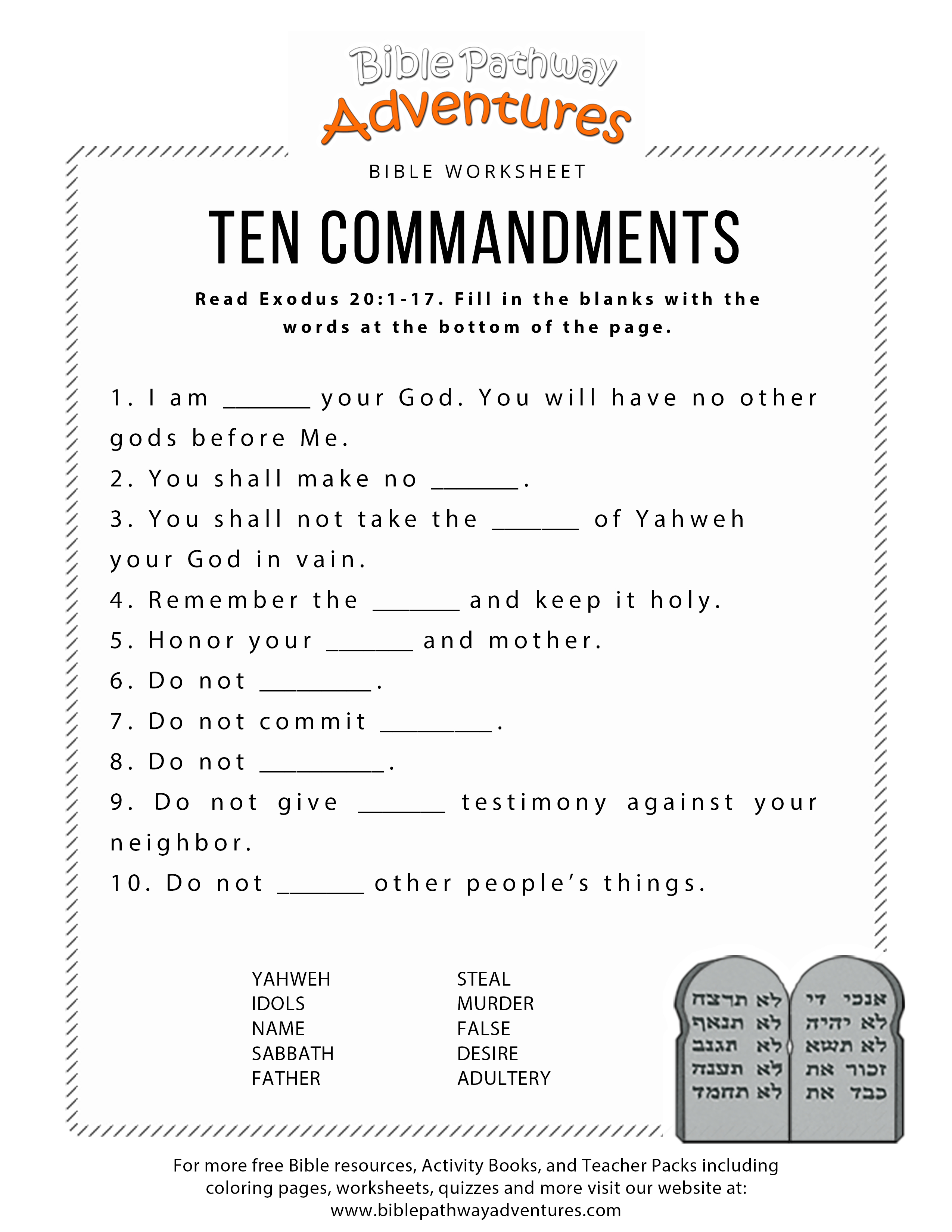 Ten Commandments Worksheet For Kids | Hebrew School | Bible - Bible Lessons For Adults Free Printable
