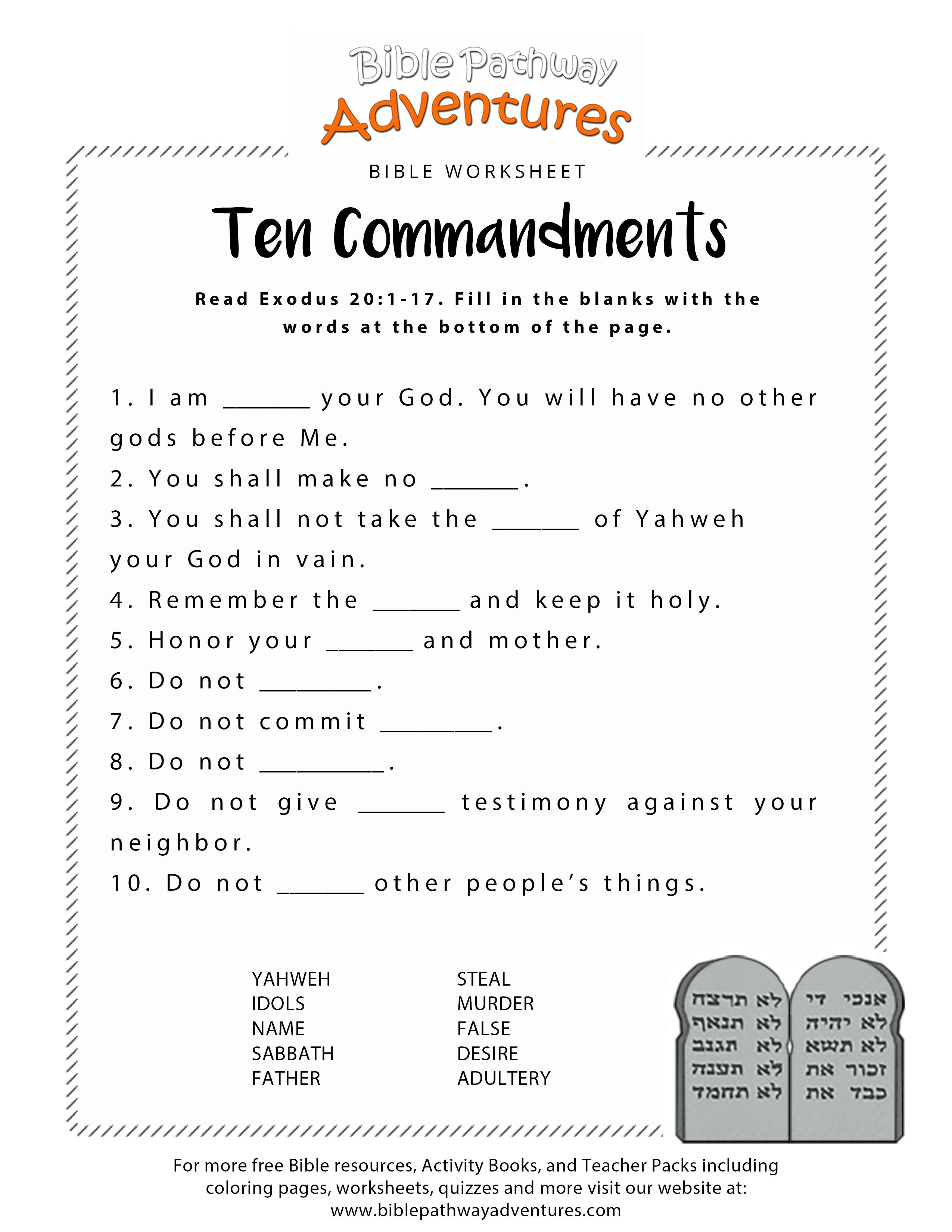 Ten Commandments Worksheet For Kids | Junior Church | Bible - Sunday School Activities Free Printables