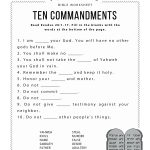 Ten Commandments Worksheet For Kids | Worksheets For Psr | Bible   Free Printable Bible Study Lessons For Adults