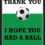 Thank You Card For Party Favors   Soccer Themeludesignandideas   Free Printable Soccer Thank You Cards