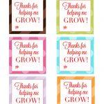 """Thank You For Helping Me Grow"""" Free Printable Tags   Leah With Love   Thanks For Helping Me Grow Free Printable"""