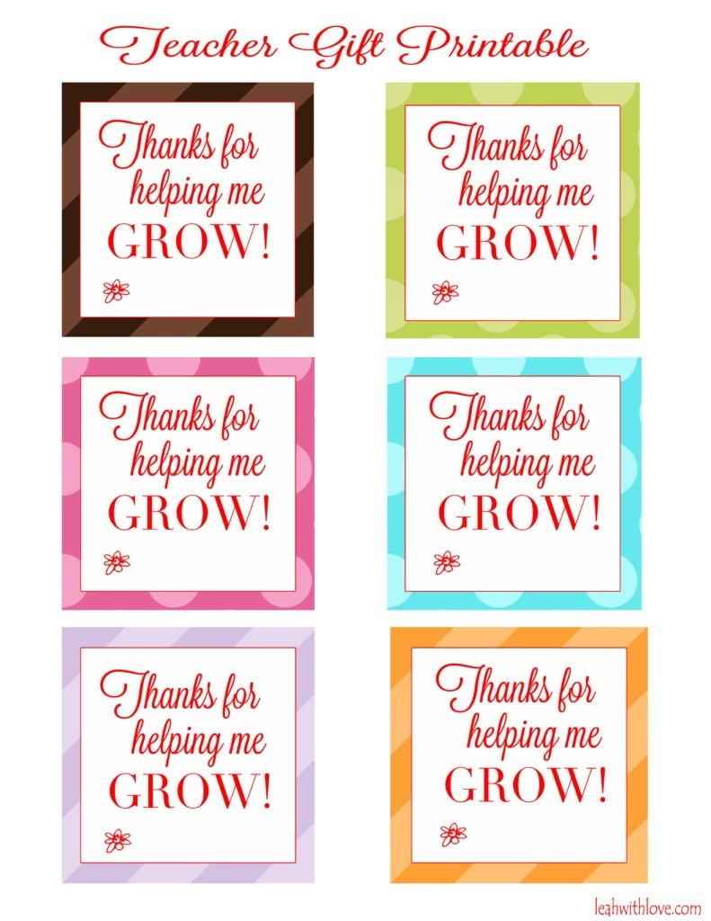 "Thank You For Helping Me Grow"" Free Printable Tags - Leah With Love - Thanks For Helping Me Grow Free Printable"