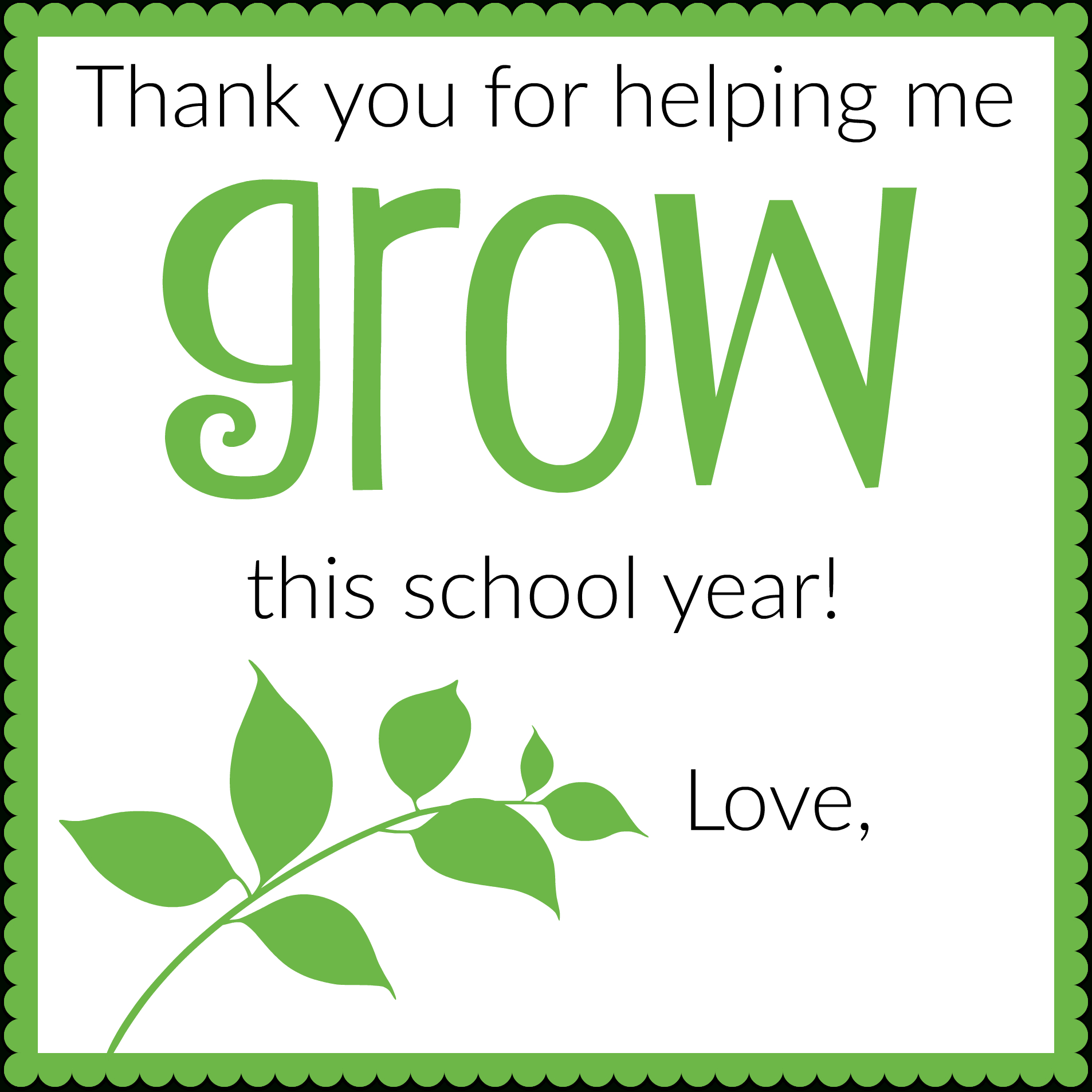 Thank You For Helping Me Grow - Free Printable Teacher Gift Tag - Thanks For Helping Me Grow Free Printable