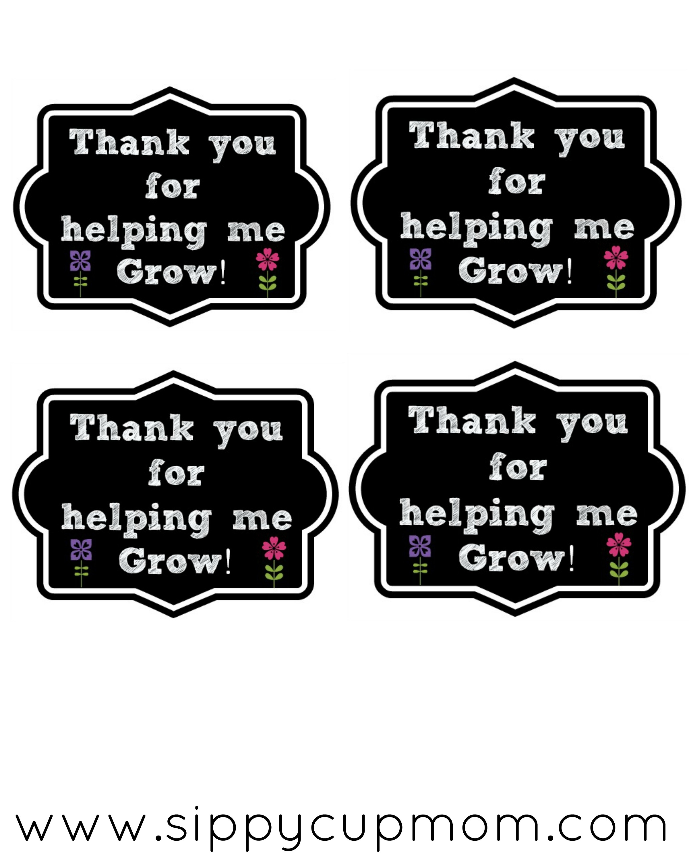 Thank You For Helping Me Grow Printable + 40+ Teacher Appreciation - Thanks For Helping Me Grow Free Printable