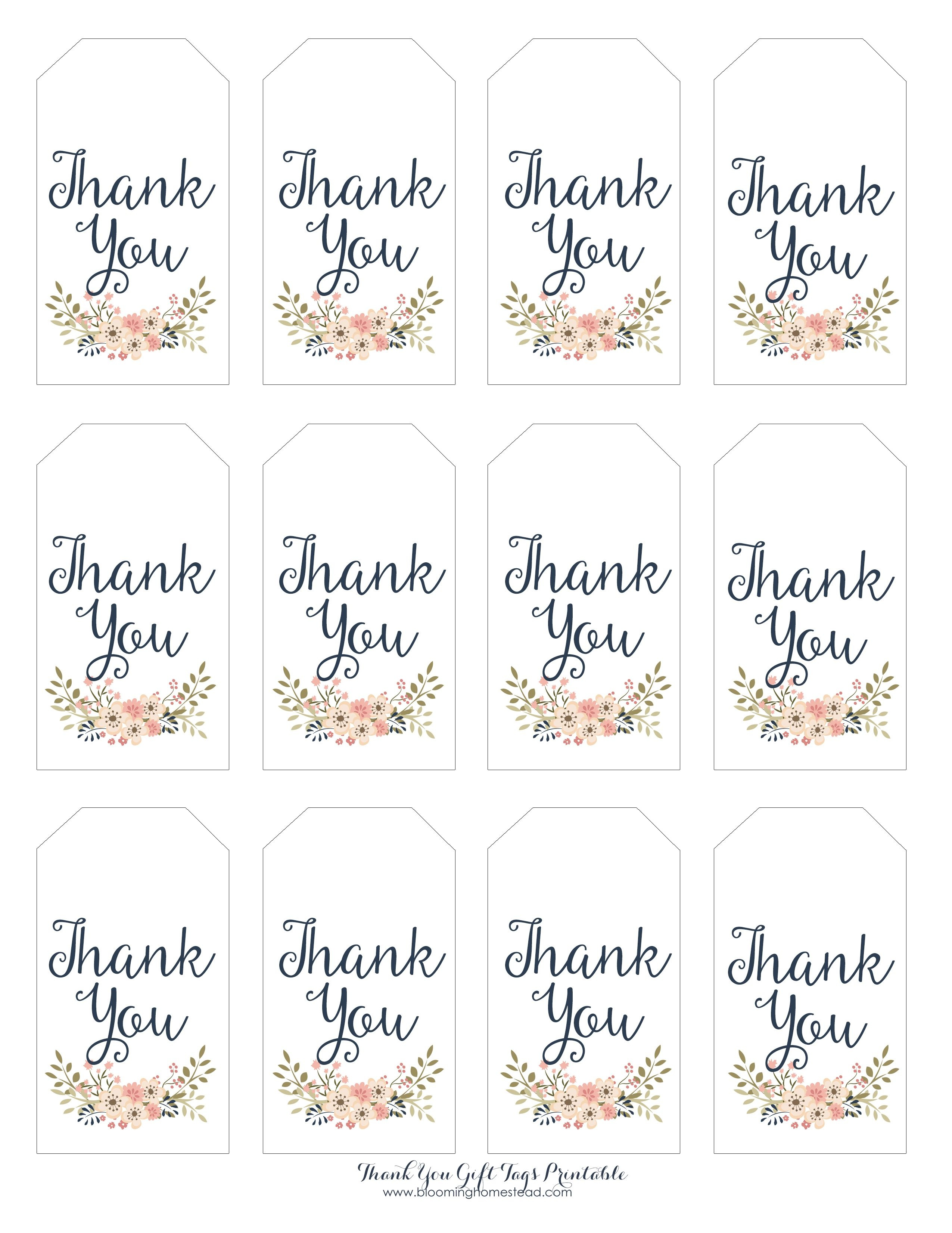 Thank You Gift Tags | Gift Ideas | Thank You Tag Printable, Wedding - Free Printable Thank You Tags